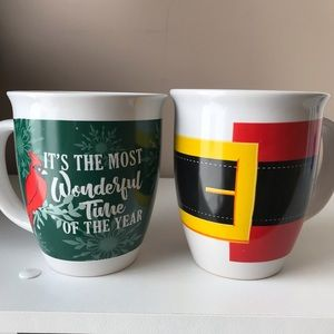 Set of 2 Holiday Mugs/Cups. Large & deep & so Cute